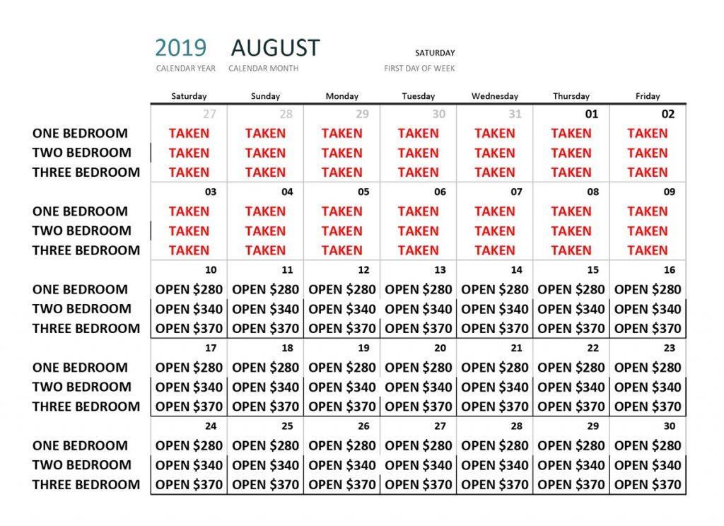 August 2019 Availability Calendar