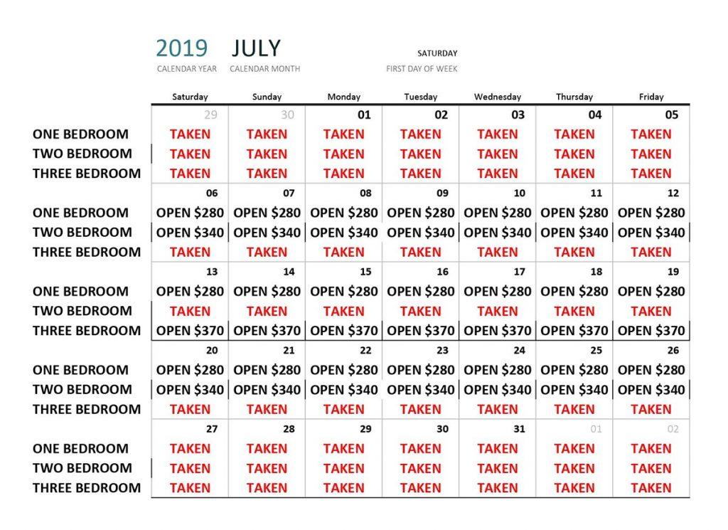 July 2019 Availability Calendar