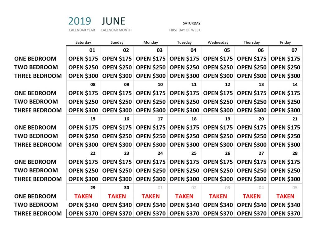 June 2019 Availability Calendar